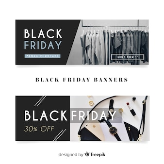 Bannières modernes de vendredi noir avec un style élégant