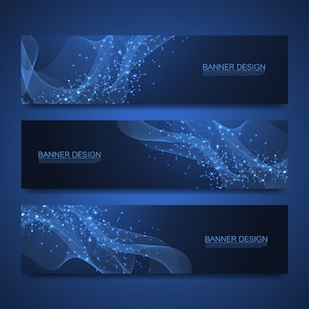 Bannières de molécules serties de lignes et de points. fond d'écran ou bannière de modèle scientifique avec des molécules d'adn. fond de molécule scientifique asbtract. flux de vague, modèle d'innovation.