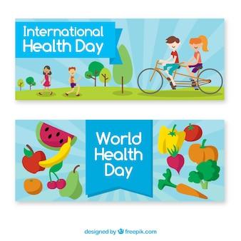 Bannières mondiales de jour de santé avec des personnes en bonne santé et une cuisine savoureuse