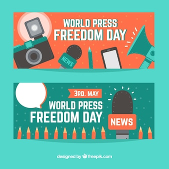 Bannières mondiales de la journée de la liberté de la presse