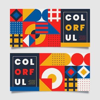 Bannières de mosaïque colorées design plat