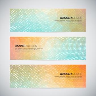 Bannières avec motif en pointillé géométrique coloré abstrait et arrière-plan.