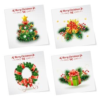 Bannières de noël avec arbre, cadeaux, couronne, étiquettes et cloche. modèle vectoriel pour la couverture, flyer, brochure, carte de voeux.