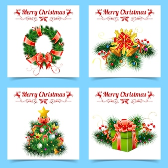 Bannières de noël et du nouvel an avec arbre, rubans, cadeaux, guirlande, étiquettes et cloche.