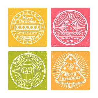 Bannières de noël d'hiver grunge avec des timbres de vacances santas mail