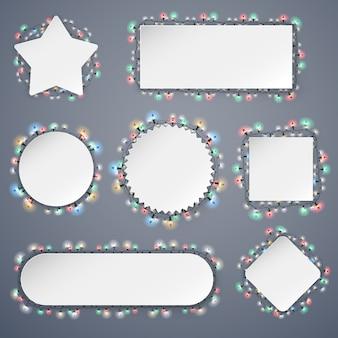 Bannières de noël vides avec des décorations de lumières