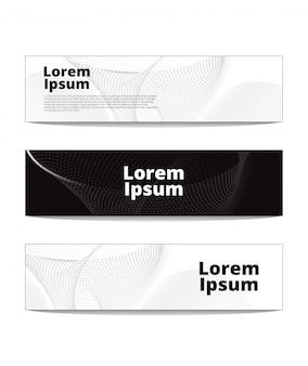 Bannières noires et blanches avec des points