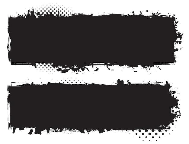 Bannières noires dans un style grunge