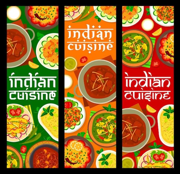 Bannières de nourriture de restaurant de cuisine indienne