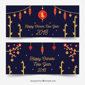 Bannières de nouvel an chinois bleu foncé