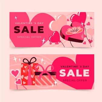 Bannières d'offres spéciales de la saint-valentin dessinées à la main