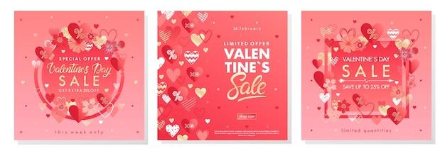 Bannières d'offres spéciales de la saint-valentin avec différents coeurs et éléments de feuille d'or.