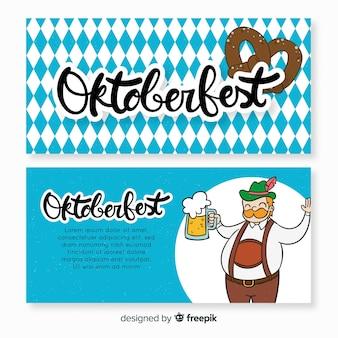 Bannières d'oktoberfest bleues et blanches