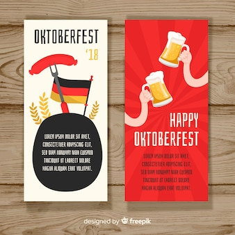 Bannières d'oktoberfest colorées avec un design plat