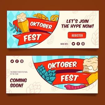 Bannières oktoberfest dessinées à la main