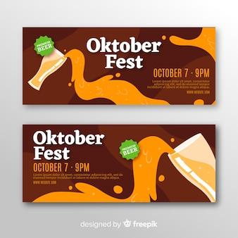 Bannières oktoberfest modernes avec un design plat
