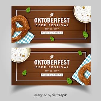 Bannières oktoberfest modernes avec un design réaliste