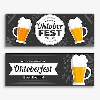 Bannières d'oktoberfest avec des pintes de bière