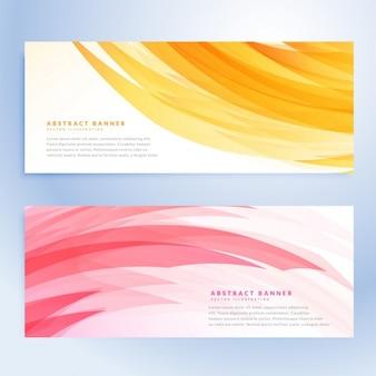 Bannières ondulées abstraites définies dans la couleur jaune et rose