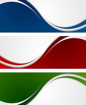 Bannières ondulées abstraites lumineuses. conception de vecteur
