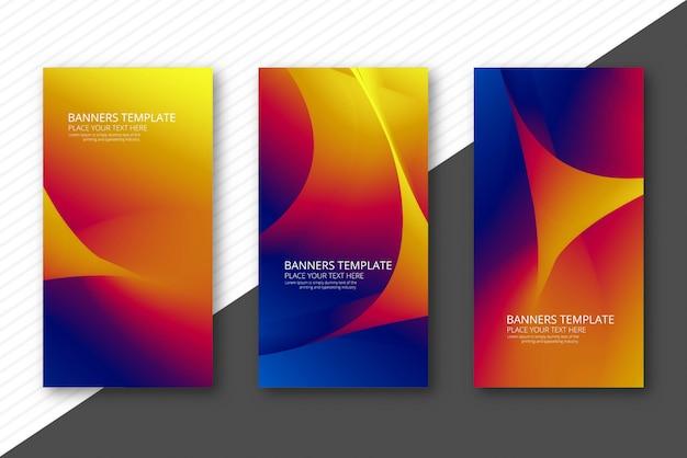 Bannières ondulées colorées abstraites scénographie