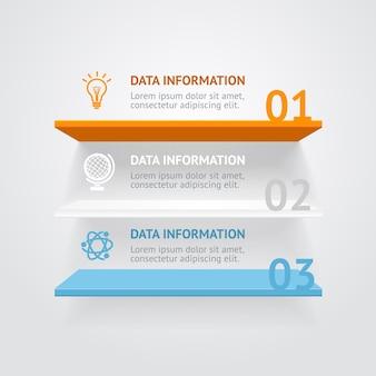 Bannières d'options d'étagères couleur infografic