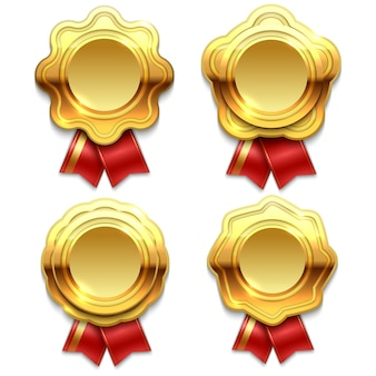 Bannières d'or avec des rubans rouges