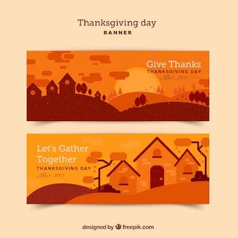 Bannières orange thanksgiving avec paysage