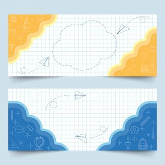 Bannières sur papier quadrillé blanc