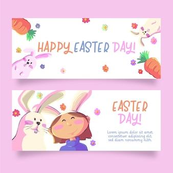 Bannières de pâques lapins et carottes