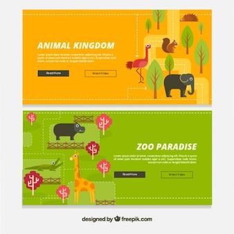Bannières paradis des animaux en design plat