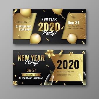 Bannières de parti réalistes du nouvel an 2020