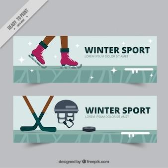 Bannières de patinage et le hockey