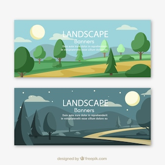 Bannières paysage avec des arbres et chemin