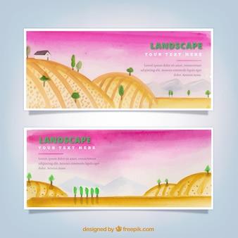 Bannières paysage avec des collines et des arbres à l'aquarelle