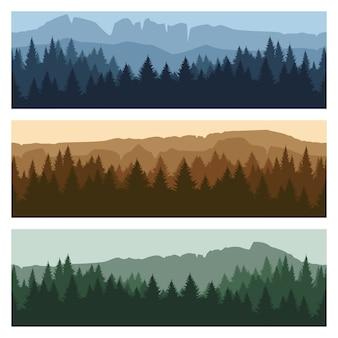 Bannières de paysage de montagne en plein air