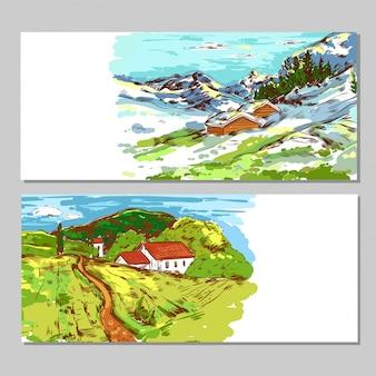 Bannières de paysages de campagne