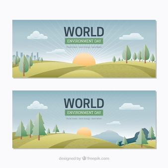 Des bannières avec des paysages mignons pour le jour de l'environnement mondial