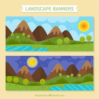 Bannières de paysages montagneux d'été