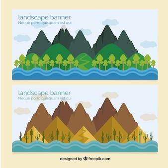 Bannières de paysages montagneux
