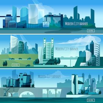 Bannières de paysages urbains modernes
