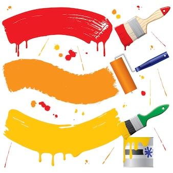 Bannières peintes de vecteur et accessoires de peinture