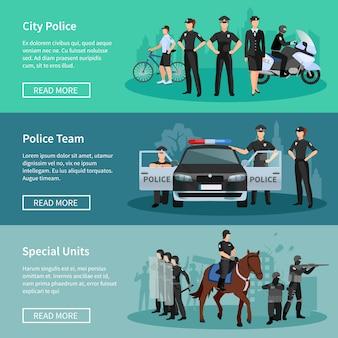 Bannières de personnes de la police ensemble d'unités spéciales monté police police ville et thé de la police
