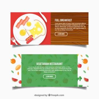 Bannières petit-déjeuner et le restaurant végétarien