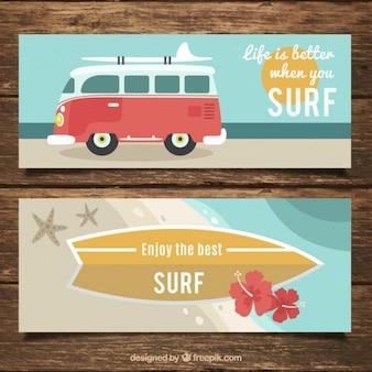 Bannières avec des phrases de surf