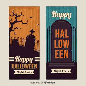 Bannières de pierre tombe halloween vintage