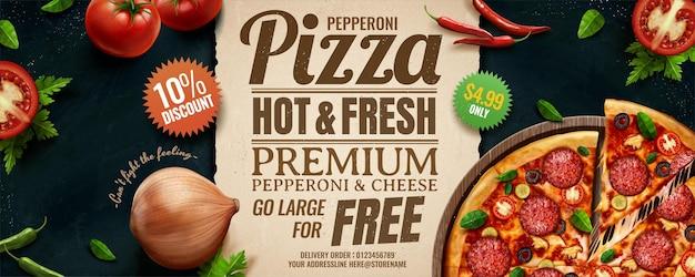 Bannières de pizza au fromage pepperoni avec des ingrédients riches en illustration 3d, angle de pose plat