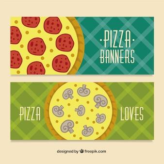 Bannières pizza avec des ingrédients