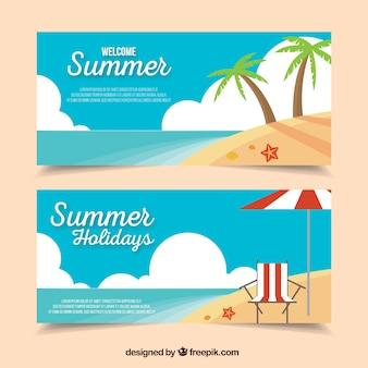 Bannières de plage plates