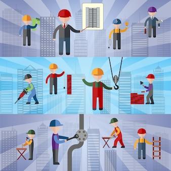 Bannières plates de construction